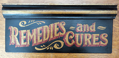 Vintage Apothecary Wooden Wall Sign Chemist Pharmacy Remedies Poison Old Antique