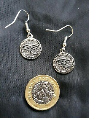 Antique Silver Egyptian Eye of Horus Eye of Ra SILVER Hook Earrings Double sided