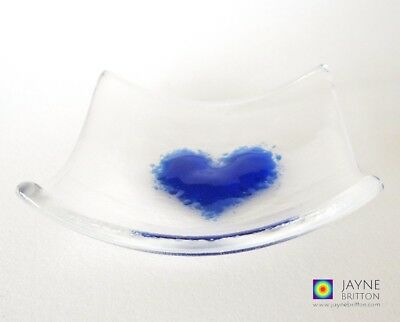 Heart bowl, fused glass, clear and indigo blue, symbol of love, ring dish