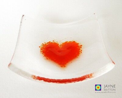 Heart bowl, fused glass, clear and orange, symbol of love, ring dish