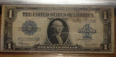 1923.  One Dollar Silver Certificate * Large Size Note * Horseblanket Note