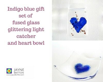 Indigo blue heart fused glass gift set - glittering light catcher, trinket bowl