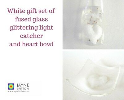 White heart fused glass gift set - glittering light catcher, trinket bowl, dish