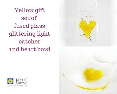 Yellow heart fused glass gift set - glittering light catcher, ring dish, bowl