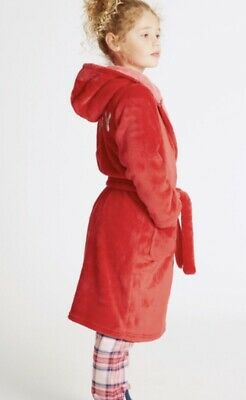 BNWT M&S Red 'Sleepy' Sequin Slogan Hooded DRESSING GOWN ROBE 9-10 YEARS-NEW