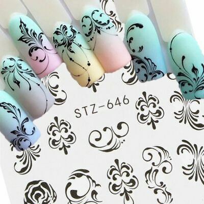 Nail Art Water Decal Stickers Manicure Decoration Floral Scroll Design 1 x Sheet