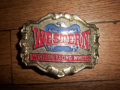 Vintage Western Racing Wheels Belt Buckle
