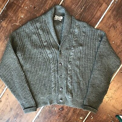 Vintage Shawl Collar Cardigan Cable Knit Vtg 60s Mens Large Olive Green Sweater