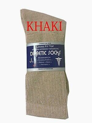 Diabetic KHAKI CREW SOCKS circulatory Health Men's Cotton ALL SIZE