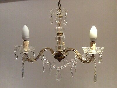 Pretty Vintage French Marie Therese Boudoir Crystal 3-arm Chandelier, c1940s.