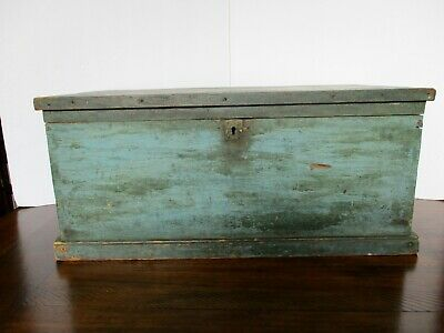 Antique 1800s SHAKER Dovetail CHEST Blue Stain SIGNED Geo Abey EXTREMELY RARE!