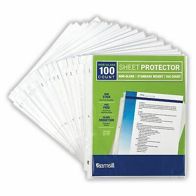 100 Clear Sheet Page Protectors Plastic Office Document Sleeves Non Glare New