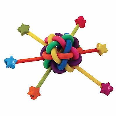 Out of This World Parrot Foot Toy - Colourful Rubber Loops, Criss-Crossed Fun