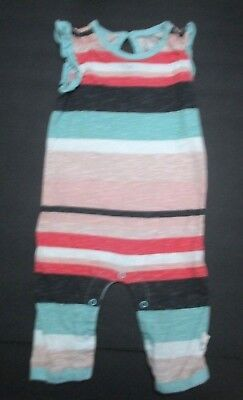 376af813d Infant Girls Burt's Bees Baby Organic Pink Green Striped Longall Outfit Sz  ...