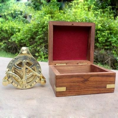 Nautical Hand-Made Solid Brass 3 inches Working Sundial Compass With Wooden Box