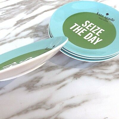 """New Kate Spade Say The Word Lenox SEIZE THE DAY Point Tidbit 6"""" Plates Set Of 4"""