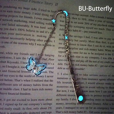 Glow In The Dark Butterfly Bookmark Tibetan Silver Book Marker Stationery DIY Fq