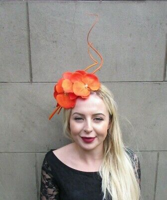 Orange Orchid Feather Flower Fascinator Headband Races Floral Crown Hair 7002