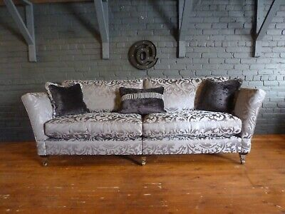 Ashley Manor Grand 4str Loretta grey silver chenille traditional knole arm sofa