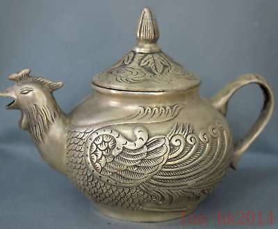Chinese Collectable Hand Old Miao Silver Carve Phoenix Auspicious Decor Tea Pot