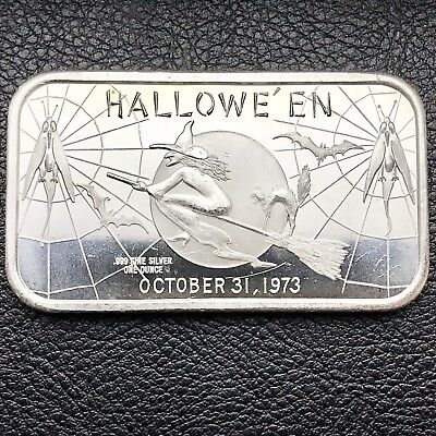 Halloween Flying Witch 1 oz .999 Silver Art Bar 1973 Madison Mint (2410)