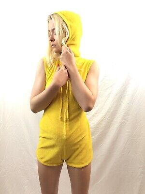 Vintage 70s Hooded Romper Body Suit Vibrant Yellow Terry Cloth WOW