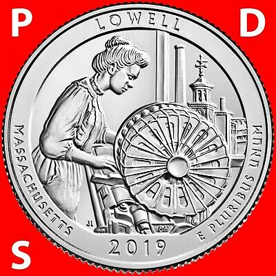 2018 Pds Lowell National Park (Ma) Three Uncirculated Quarters Set From Roll