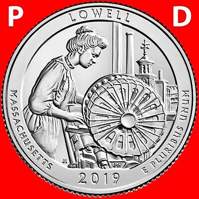 2018 P&d Lowell National Park (Ma) Two Uncirculated Quarters Set From Roll
