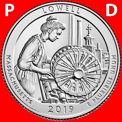 2019 P&D Lowell National Park (Ma) Two Uncirculated Quarters Set From Roll