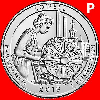 2019-P Lowell National Park (Ma) Uncirculated Quarter From Mint Roll