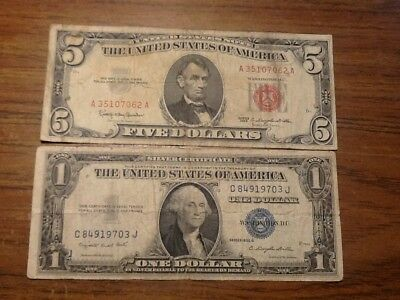1935 G 1 $ note  blue seal + a 1963 D 5 Dollar Note red seal Silver Certificate