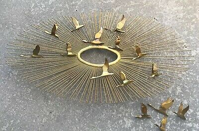 Curtis Jere Hanging  Oval Wall Sculpture Birds in Flights  Gold Sunburst