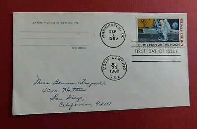 First Man On The Moon - First Day Issue 1969 - Handwritten Addressed - 10 cent