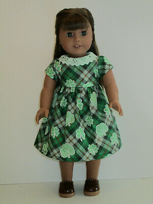 """Plaid Shamrock St Patrick's Day Dress for 18"""" Doll American Girl Doll Clothes"""
