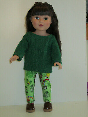 """St Patrick's Day Leggings/Green Sweater for 18"""" Doll Clothes American Girl"""