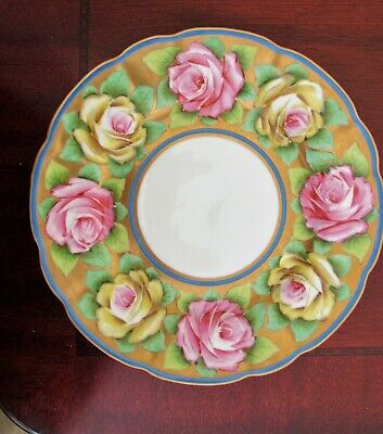Germany PROV  SAXE PLATE Handpainted Roses GOLD Guilt Trim