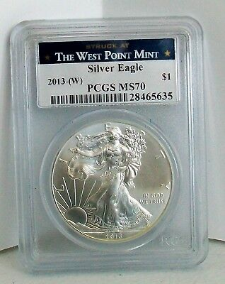 The West Point Mint, Silver Eagle 2013-(W), 1oz. Fine Silver $1 Coin, PCGS MS70