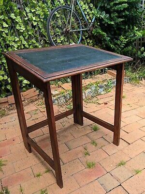 Antique folding writing desk (Campaign Style?) original leather top and ink well