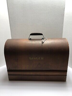 1951 Singer Sewing Machine model 128 w/ Bentwood Case box, works Good Condition