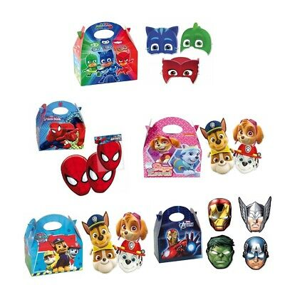 Paw Patrol/Spiderman/Marvel Masks Birthday Party Food Meal Box & Card Face Mask
