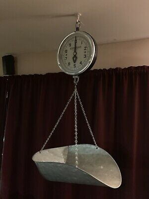 Vtg Detecto Metal Dial Farmers Market General Store Hanging Scoop Scale 10 Lb