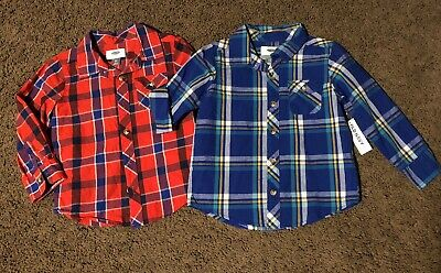 4d0881e9 Boys Toddler Old Navy Long Sleeve Button Down Plaid Shirts Size 3t New NWT  Lot