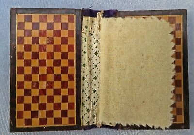 ***RARE + ANTIQUE Flat Tunbridge Ware Needle Case Draughts Chess Pattern