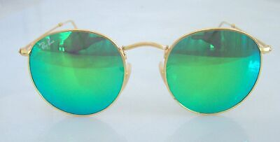 5dc1e91e25 Authentic Ray Ban Round Gold Green Mirrored Sunglasses RB3447 New with case