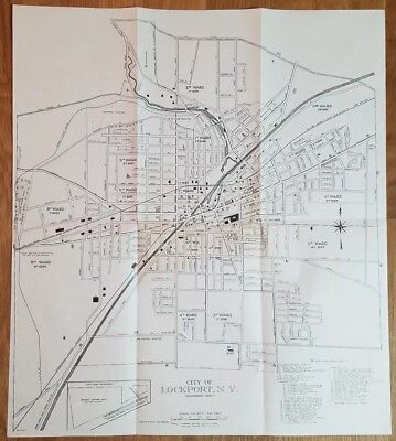 ca. 1960 CITY OF LOCKPORT, NEW YORK map Barge/Erie Canal NYC&HRR Wards Schools