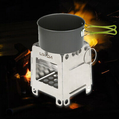 Lixada Stainless Steel Folding Pocket Wood Stove Camping Backpacking Picnic O2K7