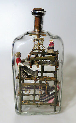 Extremely Rare early 1800's Loom of Museum Quality Folk Art, Whimsey in a Bottle