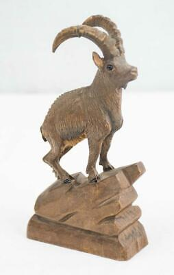 """Antique Hand Carved Wood Black Forest Mountain Goat Ibex 5.5""""h"""