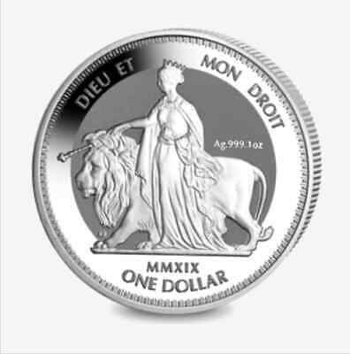 2019 BVI 1 oz Silver Queen Victoria: Una and the Lion - Reverse Frosted Proof