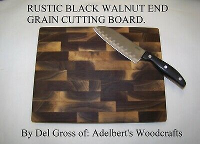 Rustic Black Walnut End Grain Cutting Boards For Sale. Natural unsteamed lumber.
